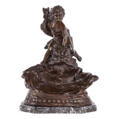 French 19th Century Louis XVI St. Bronze and Marble Statuary Signed Kinsburger