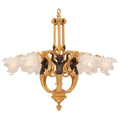 French 19th Century Louis XVI St. Bronze, Ormolu and Frosted Glass Chandelier