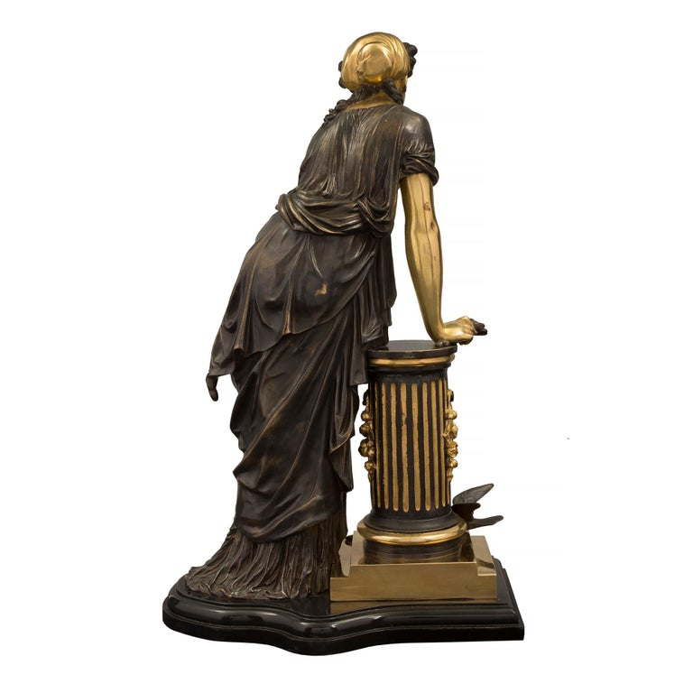 French 19th Century Louis XVI Style Bronze Statue of a Maiden In Good Condition For Sale In West Palm Beach, FL