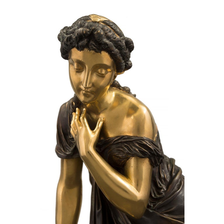 French 19th Century Louis XVI Style Bronze Statue of a Maiden For Sale 2