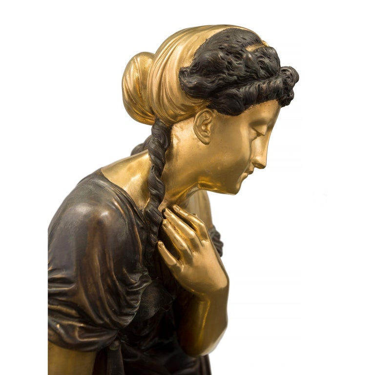 French 19th Century Louis XVI Style Bronze Statue of a Maiden For Sale 3