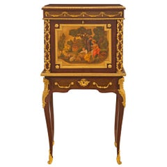 French 19th Century Louis XVI St. Burl Wood and Mahogany Cabinet