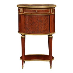 French 19th Century Louis XVI St. circa 1880 Solid Mahogany Oval Side Table