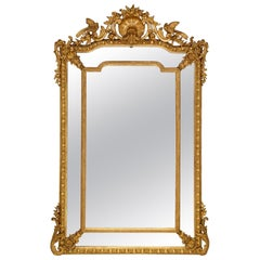 French 19th Century Louis XVI St. Double Framed Giltwood Mirror