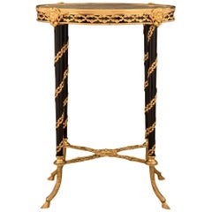 French 19th Century Louis XVI Style Ebonized Wood, Ormolu and Marble Side Table