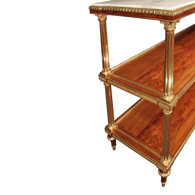 French 19th Century Louis XVI Style Flamed Mahogany and Ormolu Dessert Console For Sale 1
