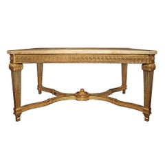 French 19th Century Louis XVI St. Gilt Wood Center Table
