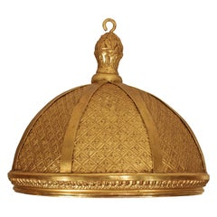 French 19th Century Louis XVI Style Giltwood and Gilt Pressed Leather Dome É