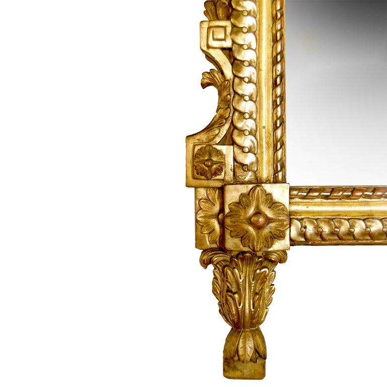 French 19th Century Louis XVI St. Giltwood Mirror In Excellent Condition For Sale In West Palm Beach, FL