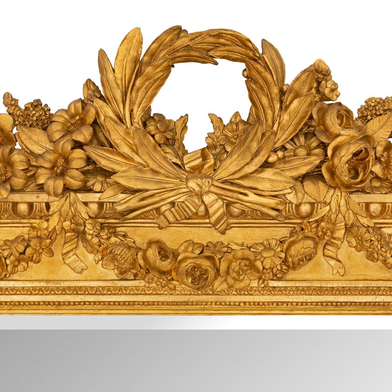 French 19th Century Louis XVI St. Giltwood Mirror For Sale 1