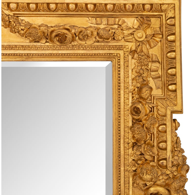 French 19th Century Louis XVI St. Giltwood Mirror For Sale 2