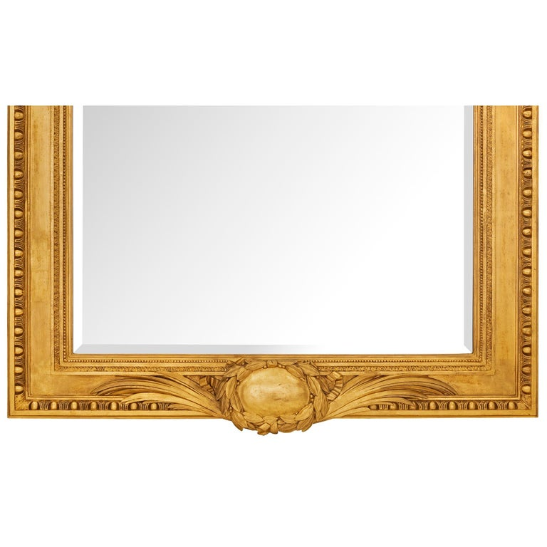 French 19th Century Louis XVI St. Giltwood Mirror For Sale 5