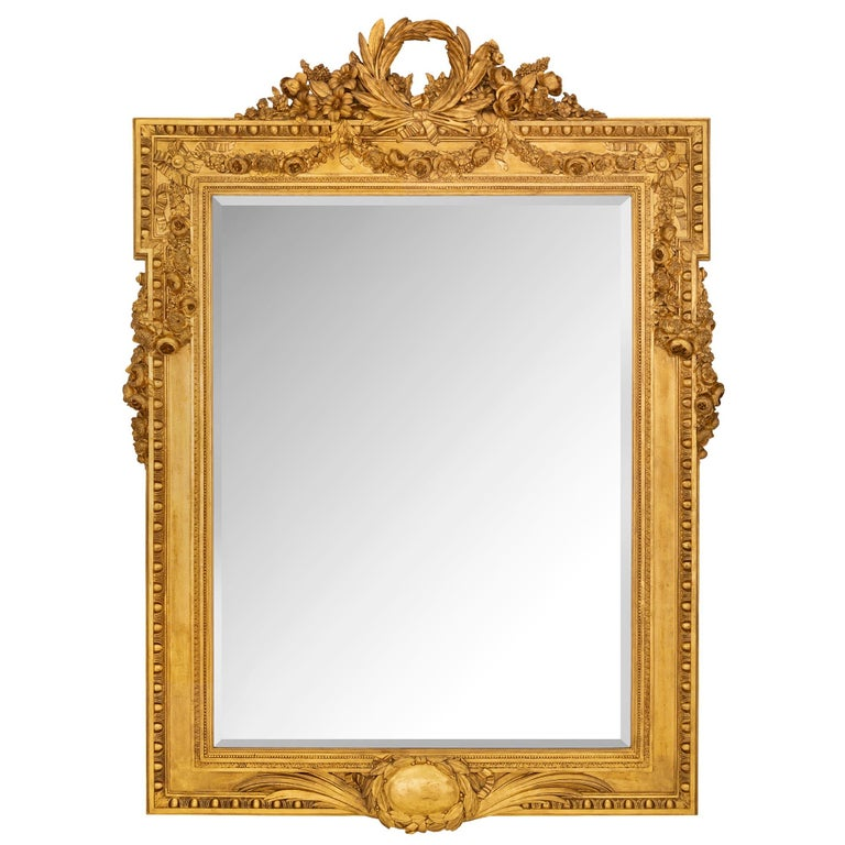 French 19th Century Louis XVI St. Giltwood Mirror For Sale