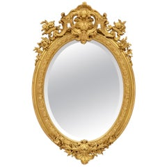 French 19th Century Louis XVI St. Giltwood Oval Mirror