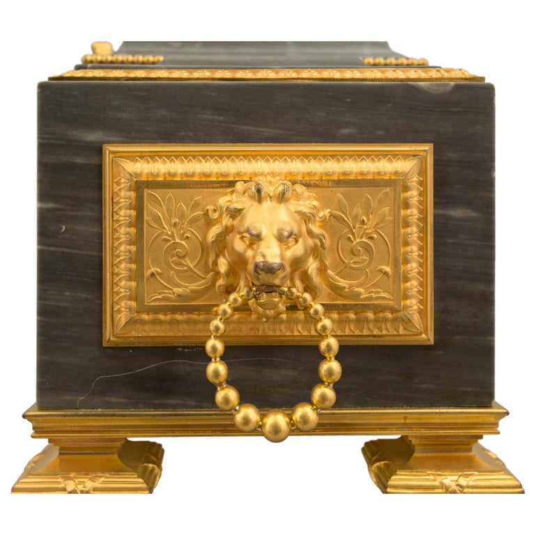 French 19th Century Louis XVI St. Gris St. Anne Marble and Ormolu Pedestal Clock For Sale 7