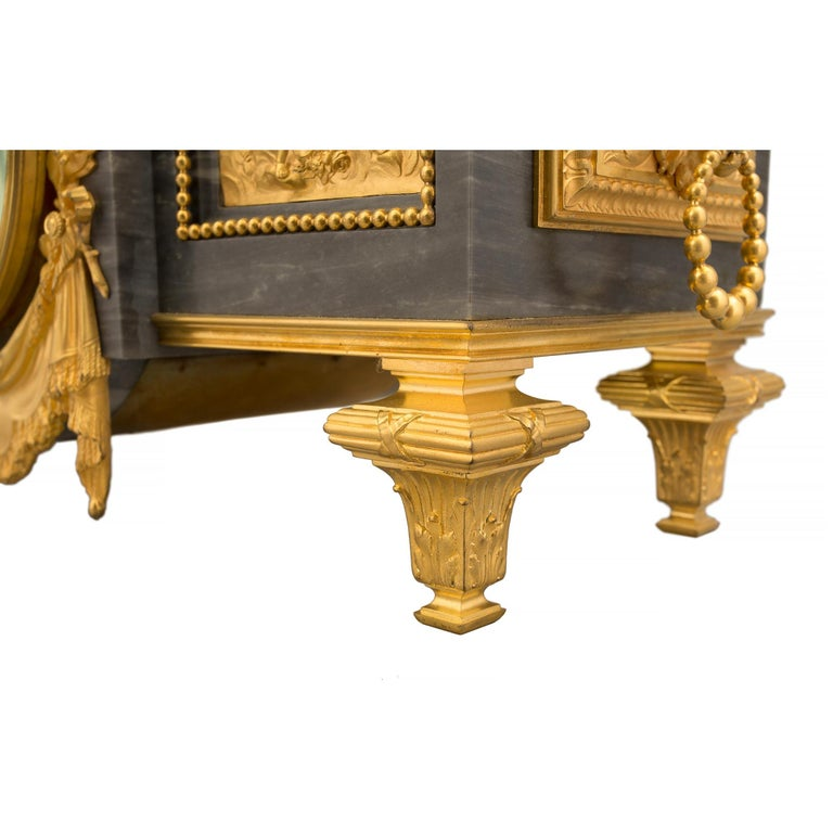 French 19th Century Louis XVI St. Gris St. Anne Marble and Ormolu Pedestal Clock For Sale 8