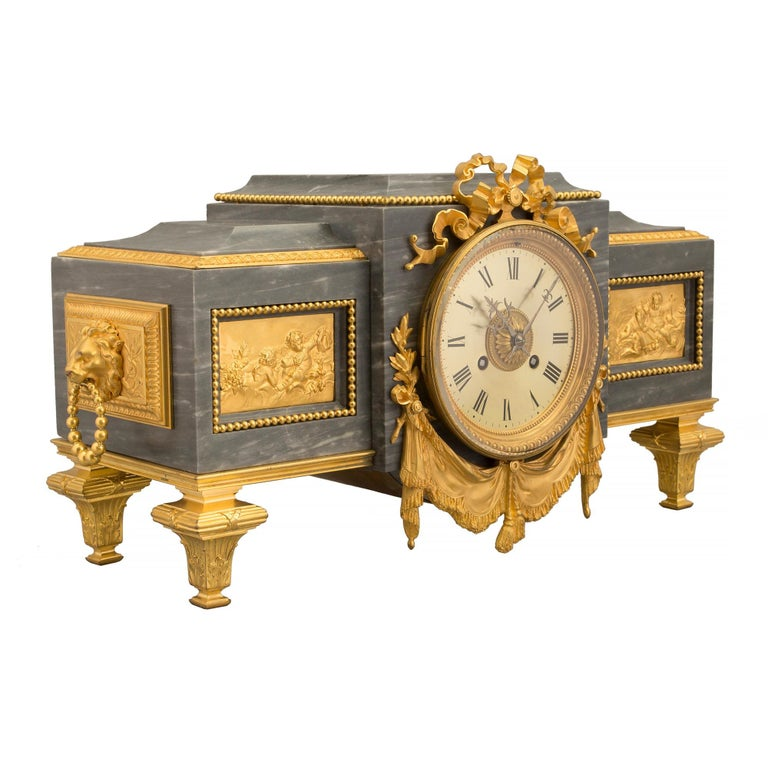 French 19th Century Louis XVI St. Gris St. Anne Marble and Ormolu Pedestal Clock In Good Condition For Sale In West Palm Beach, FL