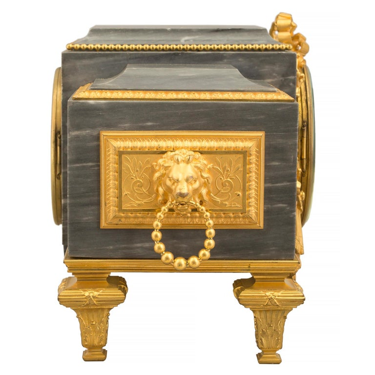 French 19th Century Louis XVI St. Gris St. Anne Marble and Ormolu Pedestal Clock For Sale 1