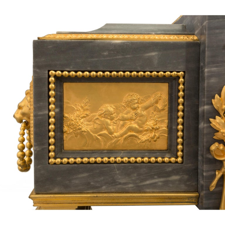 French 19th Century Louis XVI St. Gris St. Anne Marble and Ormolu Pedestal Clock For Sale 4