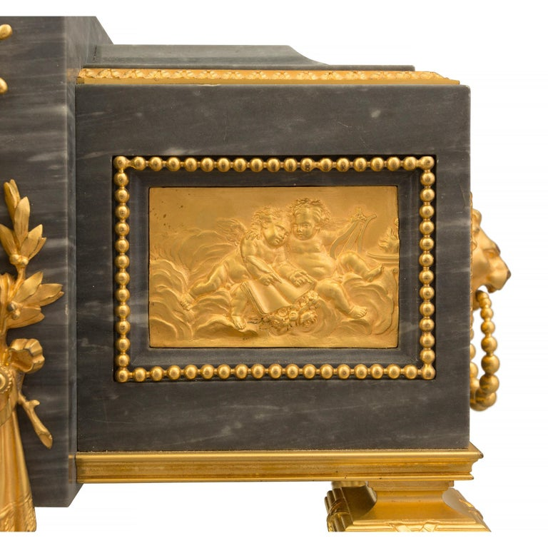 French 19th Century Louis XVI St. Gris St. Anne Marble and Ormolu Pedestal Clock For Sale 6