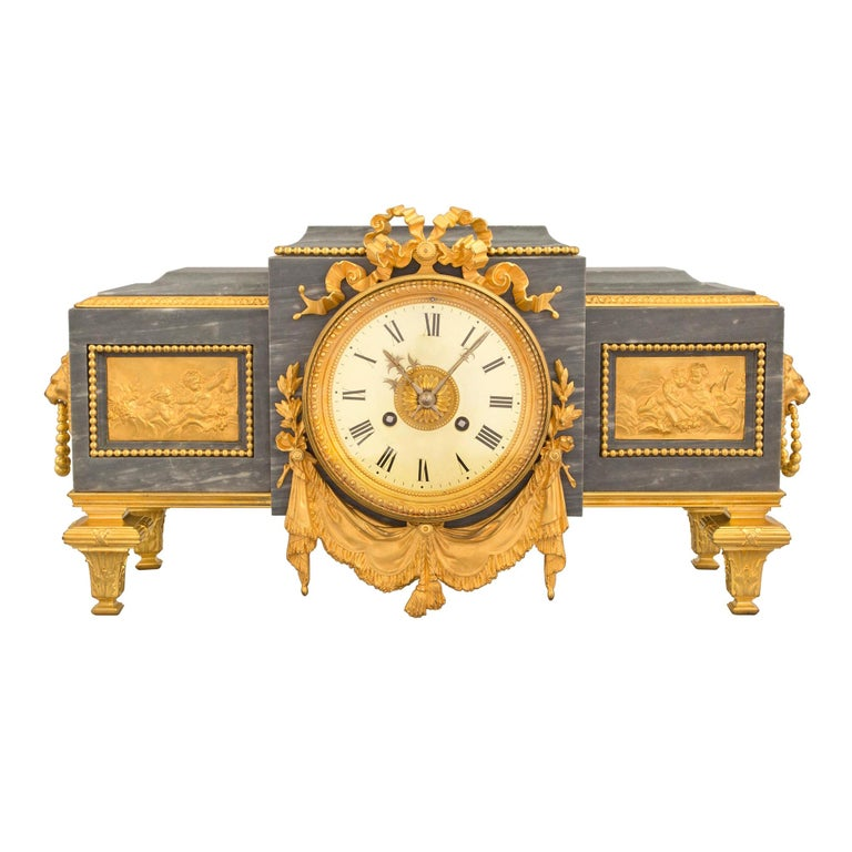 French 19th Century Louis XVI St. Gris St. Anne Marble and Ormolu Pedestal Clock For Sale