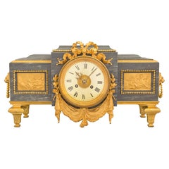 French 19th Century Louis XVI St. Gris St. Anne Marble and Ormolu Pedestal Clock