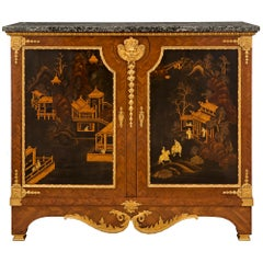 French 19th Century Louis XVI Style Japanese Black Lacquer Cabinet