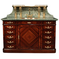 French 19th Century Louis XVI Style Kingwood and Marble Cabinet-Vanité