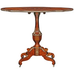 French 19th Century Louis XVI Style Kingwood and Tulipwood Tilt-Top Table