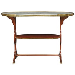 French 19th Century Louis XVI St. Mahogany and Ormolu Kidney Shaped Side Table