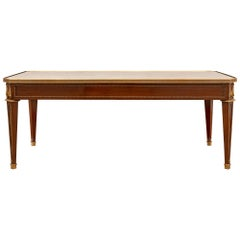 French 19th Century Louis XVI St. Mahogany, Ormolu and Marble Coffee Table