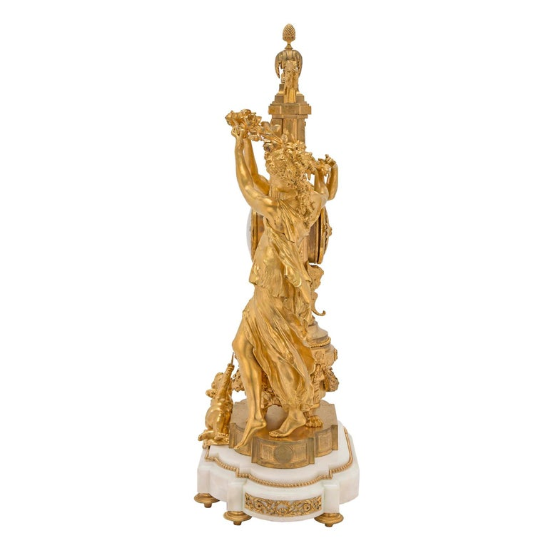French 19th Century Louis XVI St. Marble and Finely Chased Ormolu Clock In Excellent Condition For Sale In West Palm Beach, FL