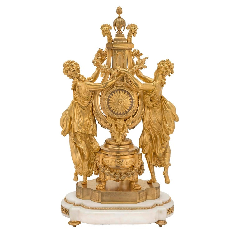 French 19th Century Louis XVI St. Marble and Finely Chased Ormolu Clock For Sale 1
