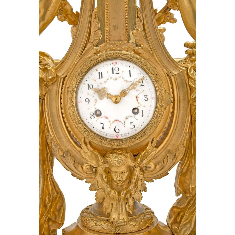 French 19th Century Louis XVI St. Marble and Finely Chased Ormolu Clock For Sale 2