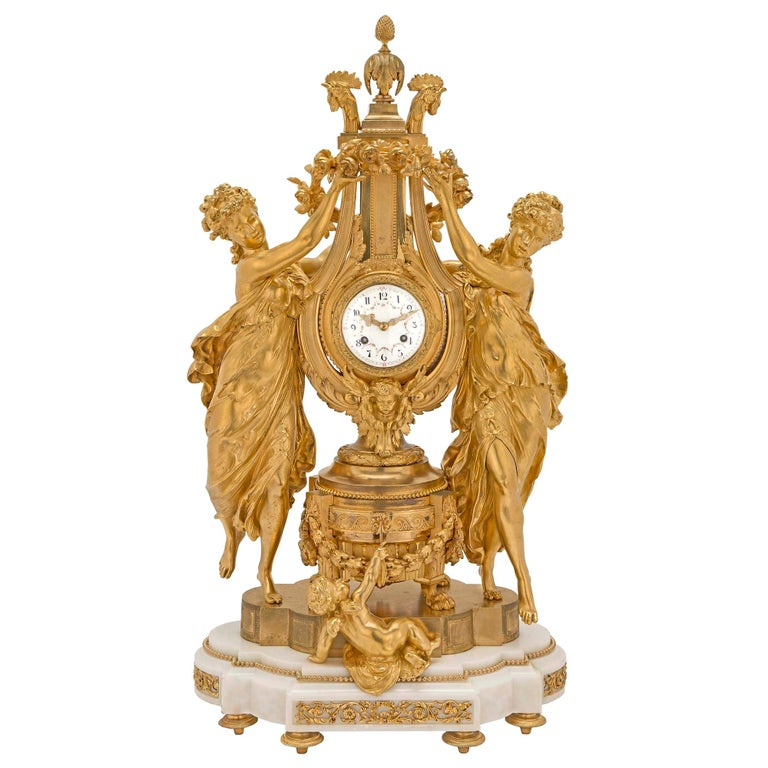French 19th Century Louis XVI St. Marble and Finely Chased Ormolu Clock For Sale
