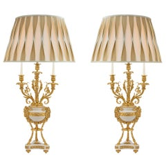 French 19th Century Louis XVI St. Marble and Ormolu Candelabras Lamps