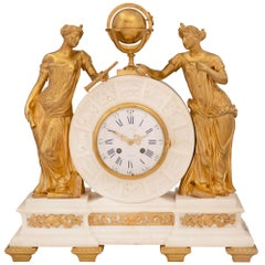 French 19th Century Louis XVI Style Marble and Ormolu Clock, by Alix à Paris