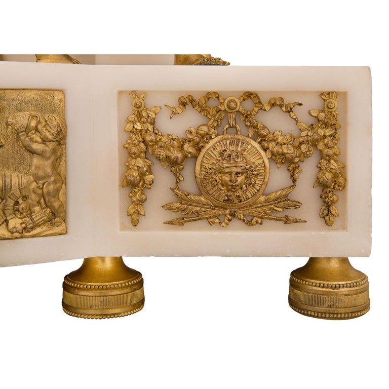 French 19th Century Louis XVI St. Marble and Ormolu Clock For Sale 7