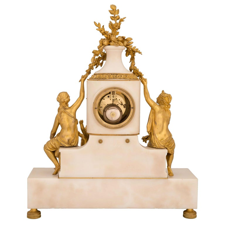French 19th Century Louis XVI St. Marble and Ormolu Clock For Sale 1