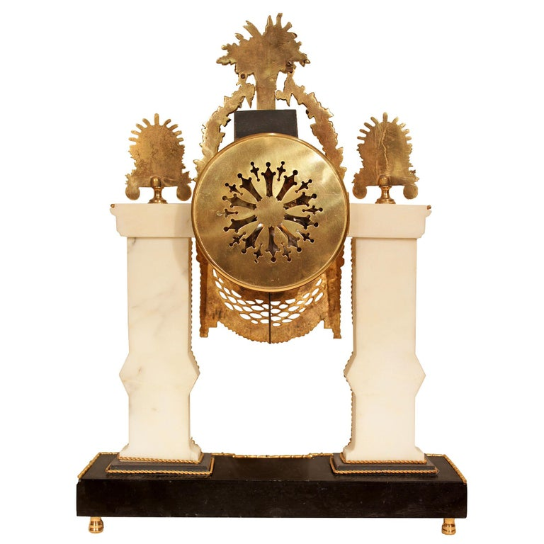 French 19th Century Louis XVI Style Marble and Ormolu Clock For Sale 1