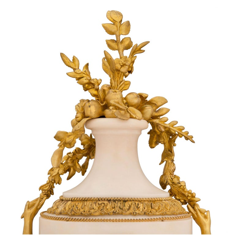 French 19th Century Louis XVI St. Marble and Ormolu Clock For Sale 2