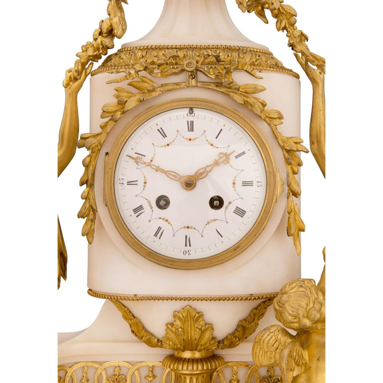 French 19th Century Louis XVI St. Marble and Ormolu Clock For Sale 3