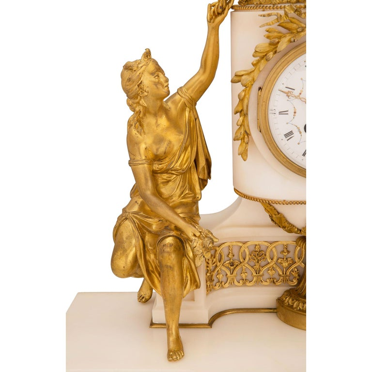 French 19th Century Louis XVI St. Marble and Ormolu Clock For Sale 4