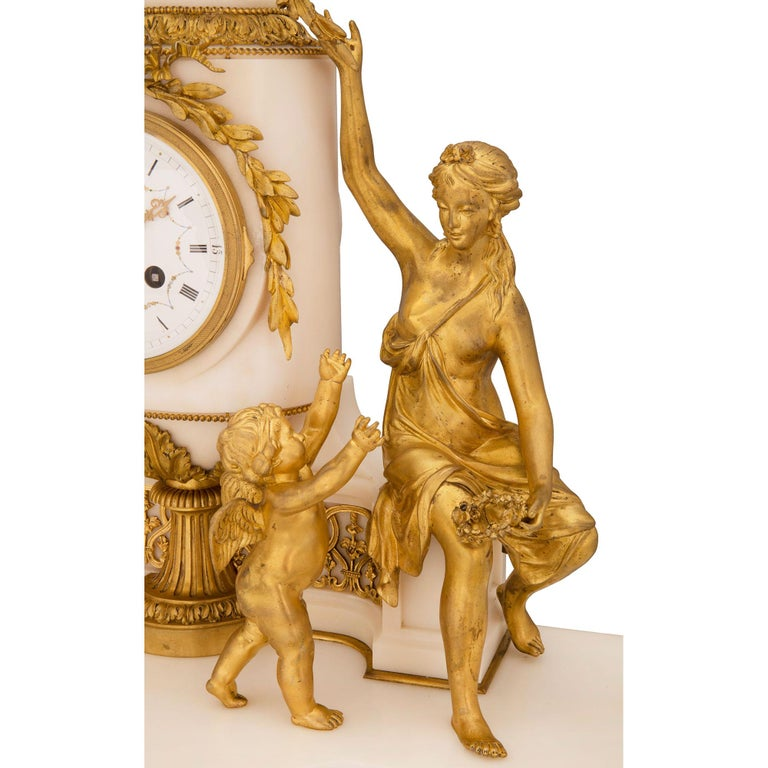 French 19th Century Louis XVI St. Marble and Ormolu Clock For Sale 5