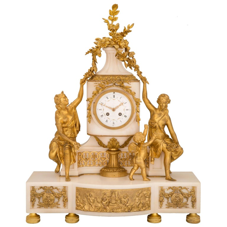 French 19th Century Louis XVI St. Marble and Ormolu Clock For Sale