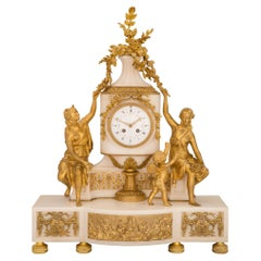 French 19th Century Louis XVI St. Marble and Ormolu Clock