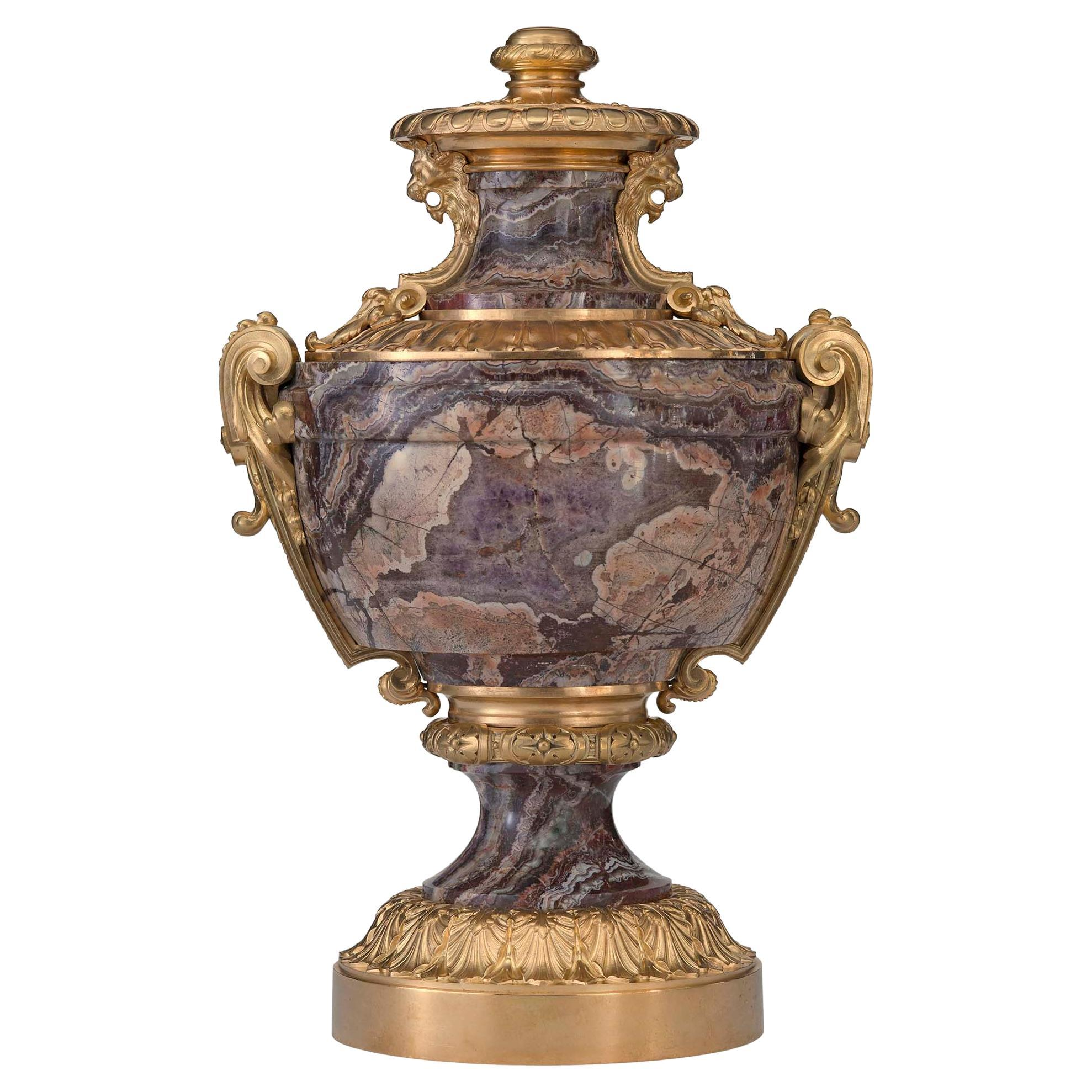 French 19th Century Louis XVI St. Marble and Ormolu Lidded Urn