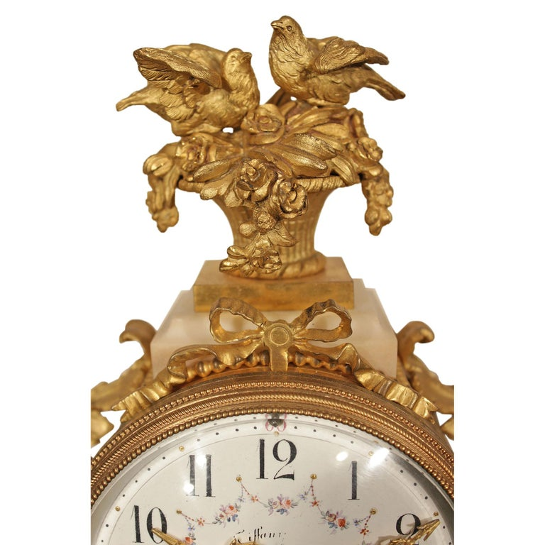 French 19th Century Louis XVI Style Marble and Ormolu Portique Clock In Excellent Condition For Sale In West Palm Beach, FL