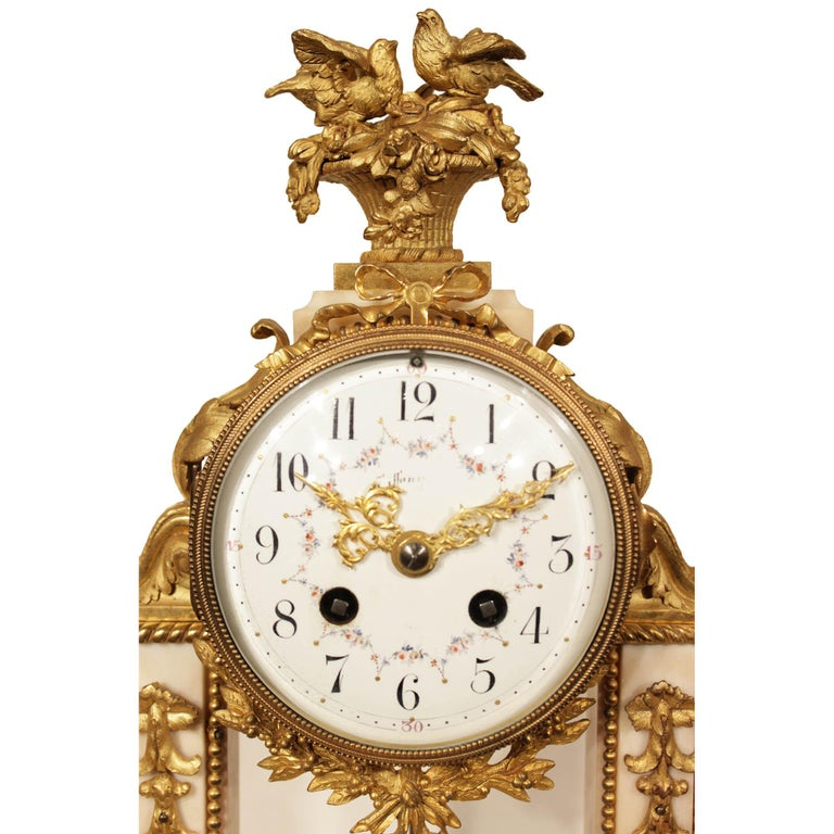 French 19th Century Louis XVI Style Marble and Ormolu Portique Clock For Sale 1
