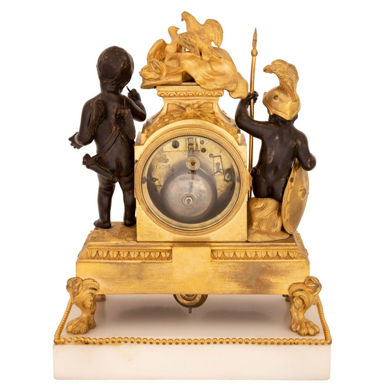 French 19th Century Louis XVI St. Marble, Ormolu and Bronze Clock For Sale 9